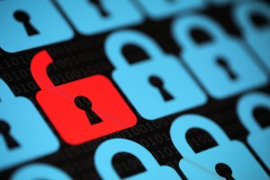 Internet security concept open red padlock virus or unsecured wi